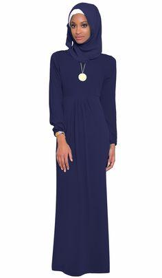 Olivia Navy Long Maxi Dress Abaya | abayas, kaftans, maxi dresses and long sleeve dresses for women | Islamic Dresses at Artizara.com
