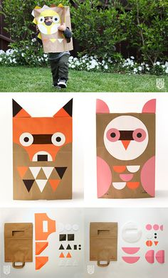 Wee Alphas share amazing paper bag DIY costumes or masks for kids - great for preschoolers. Downloadable templates linked - see www.smallforbig.com #halloween #costume #kids