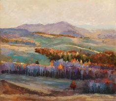 Купить Картина на холсте Осенние дали (сиреневый, мятный, рыжий)