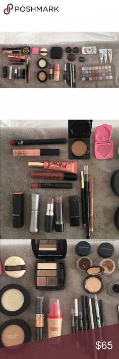 Makeup Lot / Bundle 40 pc lot. LIPSTICKS: NYC Ruby, Revlon Soft Nude, VS Cabana, Colorworks Red. NYC liquid suede cream lipstick, NARS satin lip pencil and Turkish Delight. Too Faced bronzer (chocolate soleil), justify my love blush. Revlon color stay contouring pressed powders. Avon nude eyeshadow palette. Becca eyeshadow. Bare Minerals eyeshadow (creme Brulee and toffee). Loreal liquid foundation, Mac fake lashes. Urban decay eye liner. Lacome blush. Everything has been used at least once…