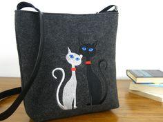CAT BAG,white cats,Felt crossbody bag, Homemade, Women felt bag, Cat bag, Felt shoulder bag, Embroidery, Cat design bag by BPStudioDesign on Etsy