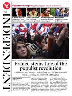 Independent centrist Macron has defeated Marine Le Pen by 65.1% to 34.9% according to