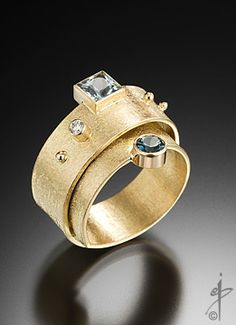Ring | Isabelle Posillico 'Road Trip' 18k gold, Aquamarine, Blue Sapphire, and diamond.