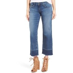 Women's Bp. Released Hem Crop Jeans ($33) ❤ liked on Polyvore featuring jeans, flutter blue, relaxed jeans, relaxed straight leg jeans, blue jeans, raw edge jeans and cropped jeans
