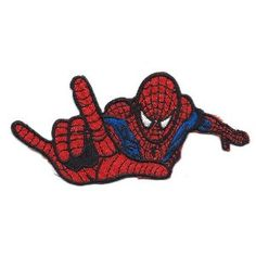 Spider-man I Love You Sign Language gesture Embroidered Iron On / Sew On Patch Applique ~ Spiderman