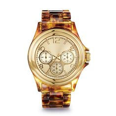 """A classic and neutral timeless piece. The look of tortoiseshell set in goldtone. Adjustable bracelet, 7""""-8"""" L."""