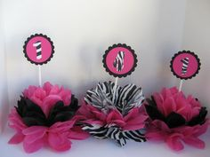 zebra print table decorations 3 in this listing more by missdaisyw, $24.00