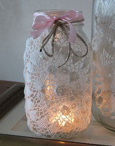 Lace candle jars