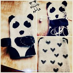 Thanx a tonne to Pinterest I found this panda mobile pouch here. And I tried doing something similar.  Made this out of my old black n grey tees ☺