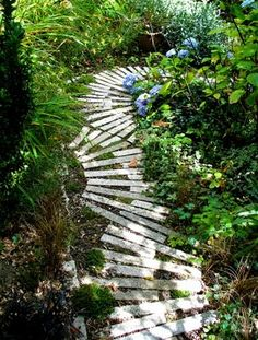 The above path is one of my favorites.    It reuses cast off stone in an unusual pattern  and it is not clear where the path leads (oh the mystery);  and it was designed and built by kids in Seattle, Washington.