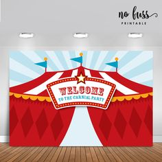Carnival Backdrop | Circus Party Banner | Poster | Signage | Personalised | Printable ONLY | Birthday Backdrop by NoFussPrintable on Etsy https://www.etsy.com/listing/257720878/carnival-backdrop-circus-party-banner