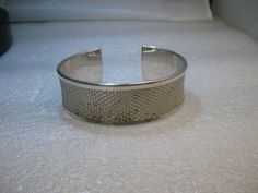 "Silver 22mm Cuff Bracelet, Marked .926, 7"", Mesh look, curved #Notsigned #cuffbracelet"