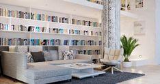 weiße inneneinrichtung ideen bibliothek zu hause
