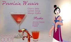 """""""Porcelain Warrior"""" and """"Mushu"""" 29 Disney-Themed Cocktails You Need To Try ASAP Disney Cocktails, Cocktail Disney, Disney Mixed Drinks, Frozen Drinks, Fun Cocktails, Party Drinks, Cocktail Drinks, Cocktail Recipes, Alcoholic Drinks"""