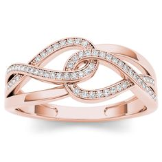 De Couer 10k Rose Gold 1/6ct TDW Diamond Double Infinity Ring (H-I, I2)