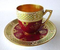Jeweled Coalport for Tiffany Demitasse Cup & Saucer