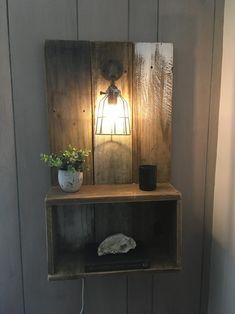 Farmhouse coastal floating nightstand with Edison bulb cage Bedroom Decor, Decor, Rustic Loft, Rustic Diy, Diy Furniture, Floating Nightstand Diy, Home Decor, Diy Headboard, Nightstand Decor