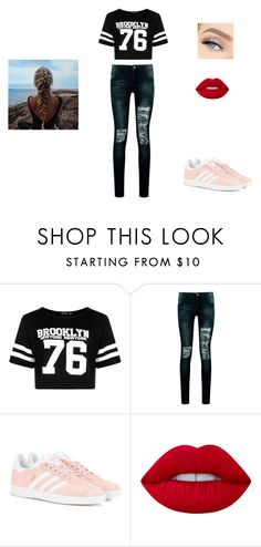 """""""Éléonore outfit 9"""" by marie-rignon on Polyvore featuring mode, Boohoo, adidas Originals et Lime Crime"""
