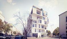 Nový bytový dům by měl nahradit panelovou stavbu z 80.let s velmi specifickou polohou — svou východní fasádou přímo navazuje na chráněný komplex Humboldt - monumentální cihlovou stavbu bývalé trafostanice od architekta Hanse Mullera z roku 1926. Náš návrh se snaží vnést do tohoto propojení...