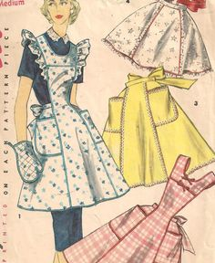 1950s Apron Sewing Pattern  Ruffle Trimmed Half by butterflyvalley