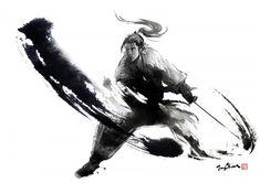 Ink Samurai by Jung Shan Ronin Samurai, Samurai Warrior, Samurai Swords, Ninja Warrior, Aikido, Sword Tattoo, Samurai Artwork, Samurai Tattoo, Ink Illustrations
