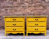 Vintage French Provincial Dressers In Sunny Yellow