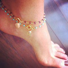 Semi Precious Stone Anklets on Etsy, $24.00