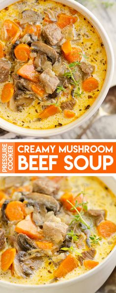 Pressure Cooker Creamy Mushroom Beef Soup is an easy and hearty 30 minute dinner in your Instant Pot. This low carb vegetable beef soup recipe is a healthy dinner that the whole family will love! #PressureCookerSoup #InstantPotSoup #BeefVegetableSoup