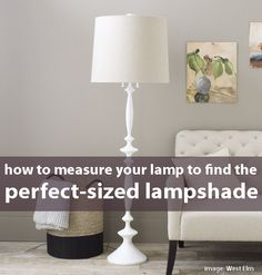 Lampshade Measuring Guide... Lamps can look unbalanced when the shade size is out of proportion to the base. Figure out the exact size lampshade you need to make your lamp look perfect, with this free PDF download!