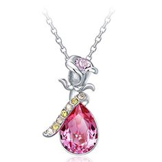 463139579 Buy NEVI Flower Rose Fashion Swarovski Elements Rhodium Plated Choker Pendant  Necklace Jewellery for Women & Girls (Pink & Yellow) Online at Low Prices  in ...