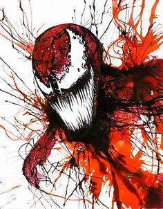 Carnage, in Jason W Gavin's Artist: Kevin Eslinger Comic Art Gallery Room Comic Book Characters, Comic Character, Comic Books Art, Comic Art, Marvel Venom, Marvel Art, Rorschach Art, Venom Art, Splatter Art