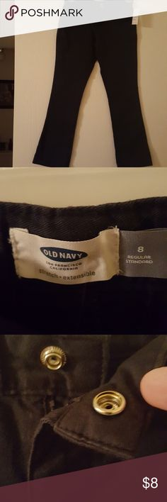 Nwt girls Old Navy blue cotton pants Nwt girls Old Navy cotton navy blue pants. Slightly wider at the ankle. These have a bit of spandex in them so I would say they are more of a size 7. Two front pockets and two faux back pockets. Has a button sewn on the front but is actually a snap enclosure. Smoke-free pet-free home Old Navy Bottoms Casual