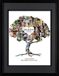 Custom Family Tree Photo Collage with Black Double-Matted Frame