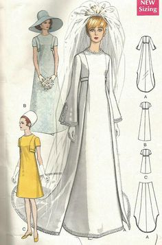 Vintage 60s Vogue 2057 Misses A-Line High Fitted Wedding Dress with Detachable Train or Bridesmaids Dress Sewing Pattern Size 12 Bust 34