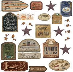 RoomMates RMK1175SCS Country Signs Peel & Stick Wall Decals by RoomMates. $13.98. From the Manufacturer                Bring a touch of vintage and retro to your surroundings with our Peel and Stick country signs.  Those have been designed to mimic the vintage look of weathered, old country, hand-painted wooden signs.  Great for all around the house: bathrooms, kitchens, pantries, powder rooms, laundry rooms and bedrooms, we've included a sign for each of these and ...