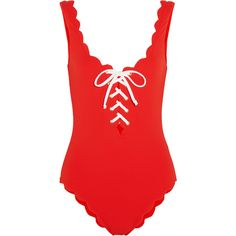 Marysia Palm Springs lace-up scalloped swimsuit (€335) ❤ liked on Polyvore featuring swimwear, one-piece swimsuits, swimsuits, bikini, swim, shirts, red, scalloped swimsuit, swimsuits bikinis and bathing suits bikini