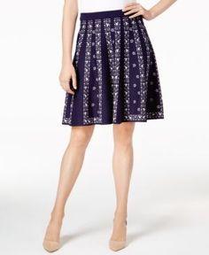 Olivia & Grace Jacquard Flared Skirt, Created for Macy's - Blue XL