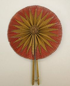 Fan Date: Culture: American Medium: straw Dimensions: Length (of handles): 11 in. cm) Credit Line: Gift of M. Winifred and Beatrice F. Antique Fans, Vintage Fans, Hand Held Fan, Hand Fans, Parasols, Frou Frou, Survival Gear, Survival Quotes, Metropolitan Museum