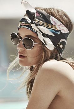 Rosie Tupper, scarf | How to tie a silk scarf on your hair as a bandana #hexisilk