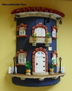 Clay Houses, Ceramic Houses, Miniature Houses, Clay Crafts, Diy And Crafts, Clay Fairies, World Crafts, Fairy Garden Houses, House Doors