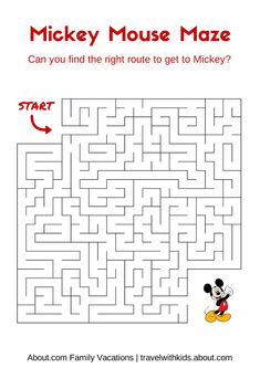 14 Free Disney Printables for Kids: Mickey Mouse Maze Disney Diy, Walt Disney, Disney Trips, Disney Cruise, Disney Cars, Cruise Vacation, Orlando Disney, Disney Resorts, Cruise Tips