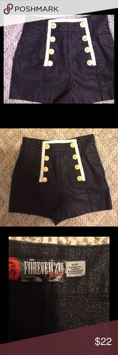 Hi rise shimmery sailor shorts Limited edition F21 Twist shimmery stretch short shorts.  Size small, I think true to size in the waist but I don't have enough going on in the rear to pull off this look lol . If you do, these will be super hot!  Side zip.  Excellent condition. Forever 21 Shorts