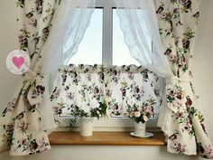 Rose Curtains, Ruffle Curtains, Shabby Chic Curtains, Vintage Kitchen Curtains, Shabby Chic Kitchen, Shabby Chic Cottage, Curtain Styles, Curtain Designs, Purple Kitchen Decor