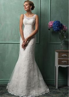 Can change base color. Glamorous Tulle Scoop Neckline Natural Waistline Mermaid Wedding Dress With Beaded Lace Appliques