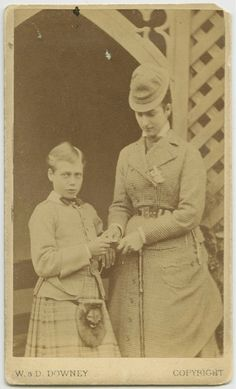 """Posing with Momma"".  Prince George, later King George V of england with mother, Pss Alexandra of Wales"