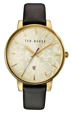 Currently swooning over this classic round watch by Ted Baker from the Anniversary Sale. A floral-lace etched sunray dial and gold details complete the whimsical vibe of this leather strap watch.