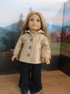 """Doll Clothes 18/"""" Quilted Jacket Tan Made To Fit American Girl Dolls"""