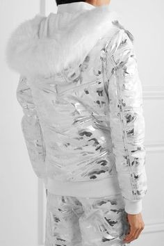 Topshop Sno - Queen B Faux Fur-trimmed Metallic Camouflage-print Ski Jacket - Silver - UK14