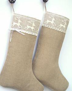 Scandinavian Christmas stocking - Linen Burlap stocking
