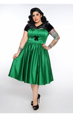 Pinup Couture - Evelyn Dress in Green Satin - Plus Size | Pinup Girl Clothing